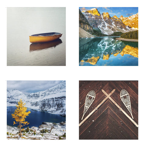 Metallic Mini Magnet Set of 4 <br> Rustic Mountain Moments No. 3