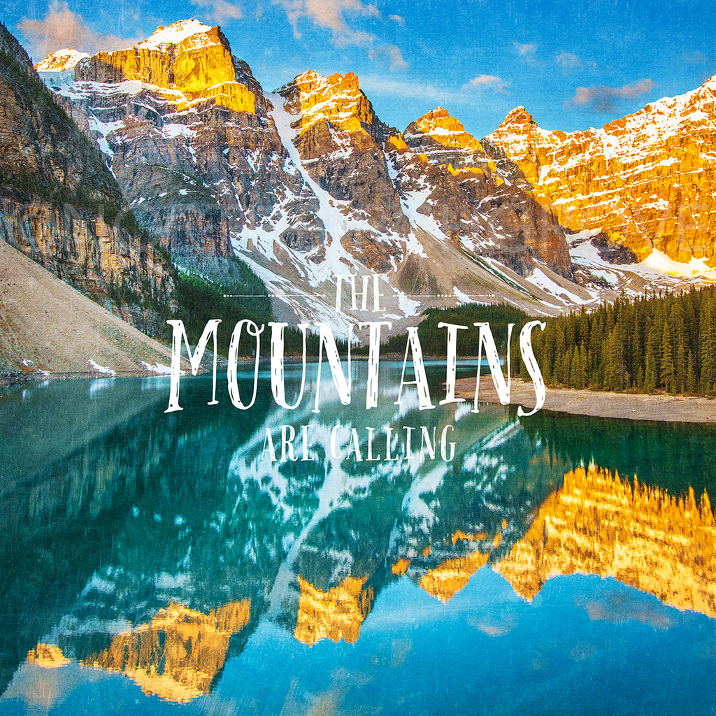 "12x12"" SALE Metallic Print <br>The Mountains Are Calling Moraine Lake<br>"