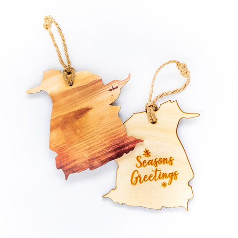 New Brunswick Wooden Holiday Ornament <br>Seasons Greetings <br> Fishing at Sunset