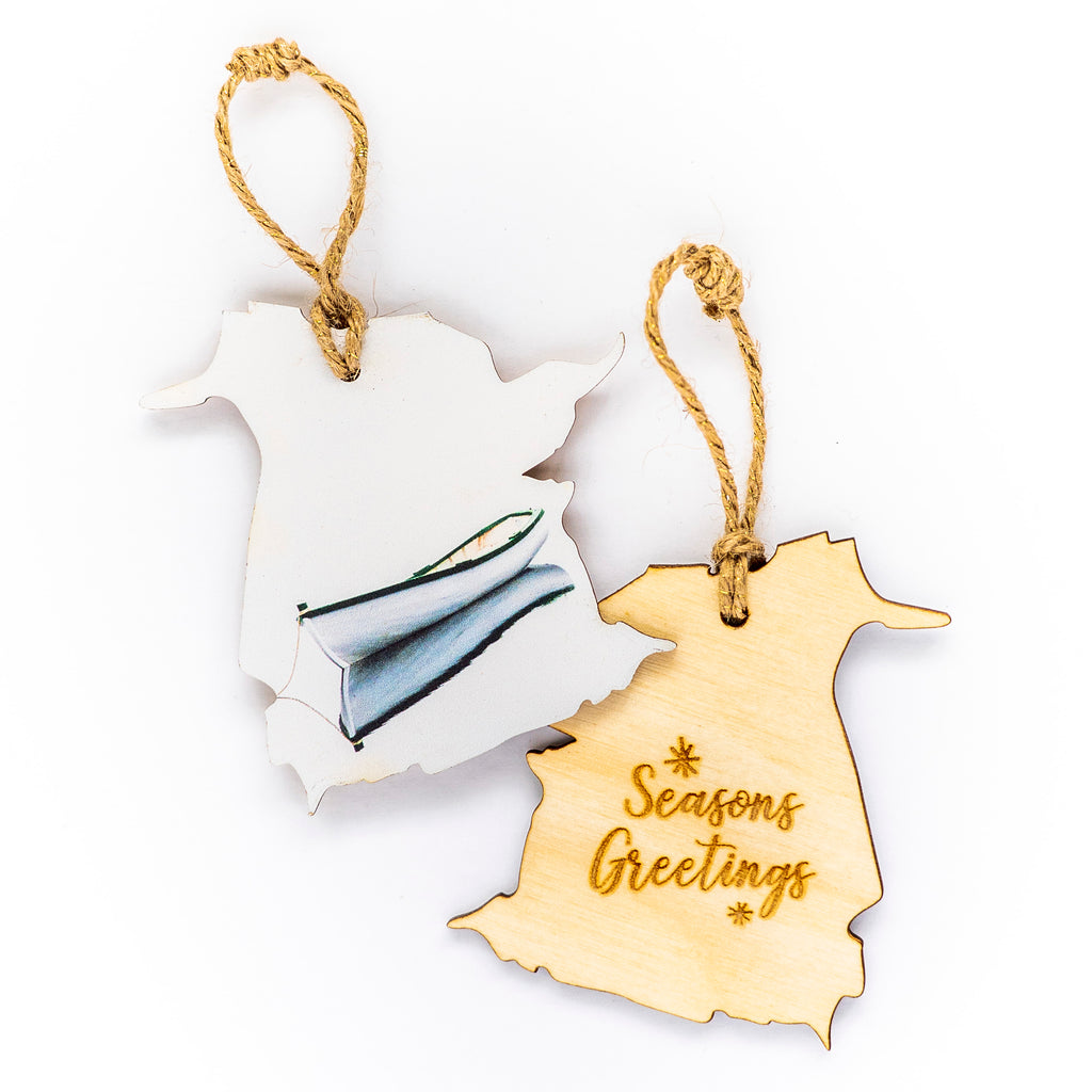 New Brunswick Wooden Holiday Ornament <br>Seasons Greetings <br> Dory