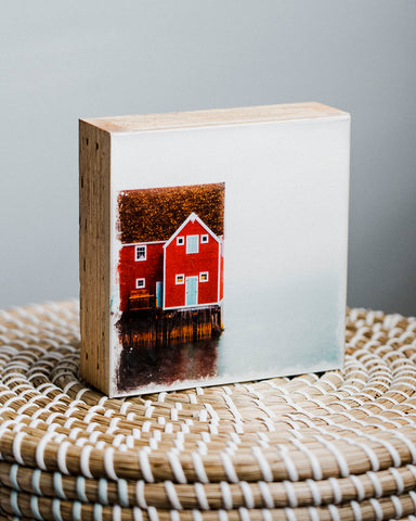 "SALE Newfoundland Red Playhouse<br> 5x5"" Signature Glossy Art Block  <br> Rustic Barn Wood Edges"