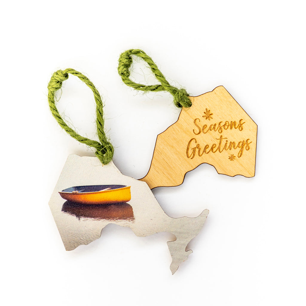 Ontario Wooden Holiday Ornament <br> Seasons Greetings <br> Orange Boat in Bay