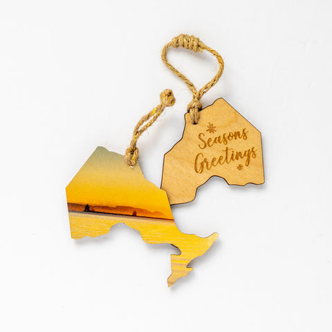 Ontario Wooden Holiday Ornament <br> Seasons Greetings <br> Sunrise on the Great Lakes