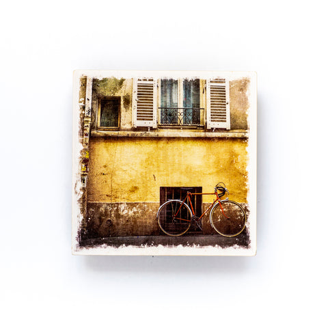 "Parisian Street & Bicycle<br>Birch Wood Photo Coaster <br> 4x4"" Matte Finish"