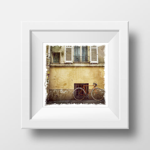 "SALE 5x5"" Fine Art Print <br>Bicycle in Paris<br> Metallic Finish"