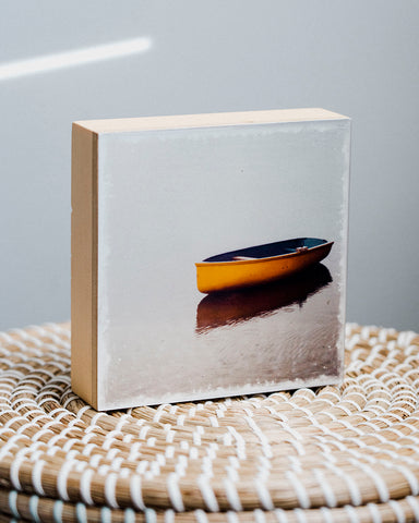 "CLEARANCE Lone Boat in Calm Waters<br> 5x5"" Signature Glossy Art Block  <br> Pine Wood Edges"