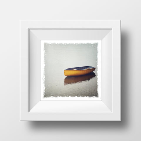 Metallic Polaroid Magnet <br> Orange Row Boat
