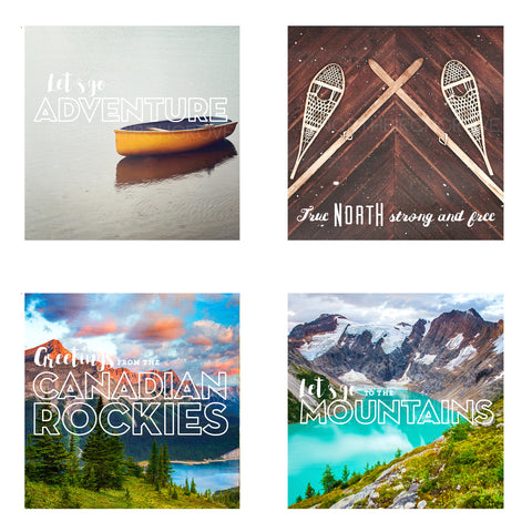 Metallic Mini Magnet Set of 4 <br> Postcard Inspired Mountain Scenes No. 3