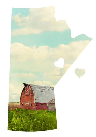 CLEARANCE <br>Manitoba Love Magnet <br>Red Barn in Field