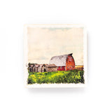 "Red Barn <br>Birch Wood Photo Coaster <br> 4x4"" Matte Finish"