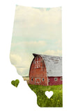 Alberta Love Magnet<br> Red Barn in Field