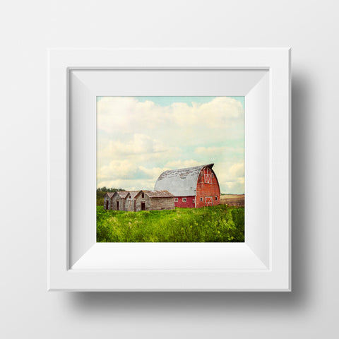 Red Prairie Barn + Sky <br>Archival Fine Art Chromogenic Print