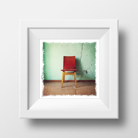 "CLEARANCE 5x5"" Fine Art Print <br>Vintage Chair<br> Metallic Finish"