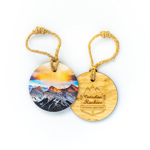 Circle Wooden Holiday Ornament <br> Canadian Rockies <br> Three Sisters Mountains