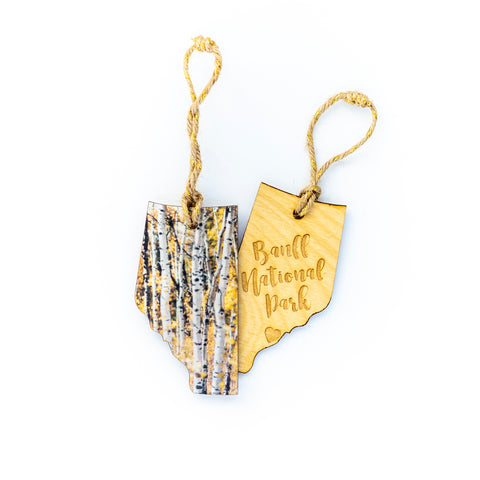 CLEARANCE <br> Alberta Wooden Holiday Ornament <br> Banff National Park <br> Aspens in Autumn