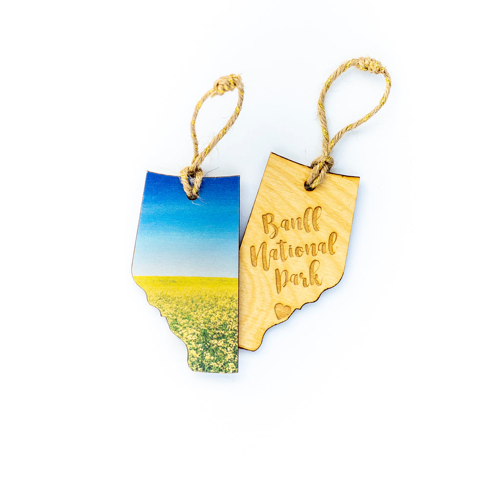CLEARANCE <br> Alberta Wooden Holiday Ornament <br> Banff National Park <br>Canola Field in Bloom