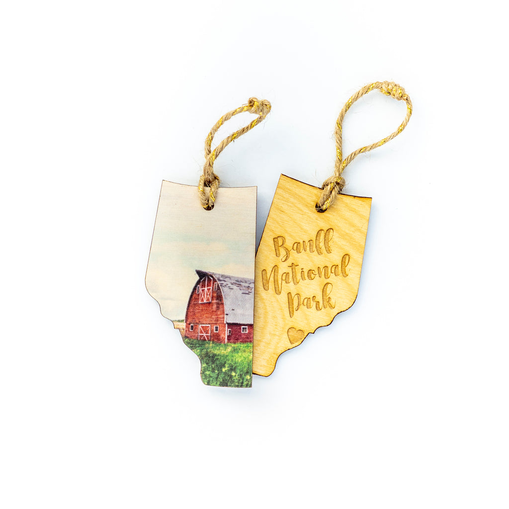 CLEARANCE <br> Alberta Wooden Holiday Ornament <br> Banff National Park <br>Red Barn