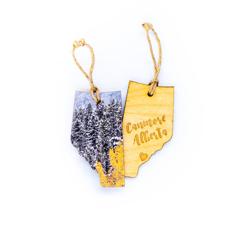 CLEARANCE <br> Alberta Wooden Holiday Ornament <br> Canmore <br>Aspens in Snow