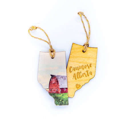 CLEARANCE <br> Alberta Wooden Holiday Ornament <br> Canmore <br> Red Barn
