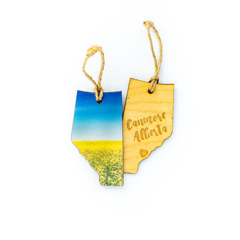 CLEARANCE <br> Alberta Wooden Holiday Ornament <br> Canmore <br> Canola in Bloom
