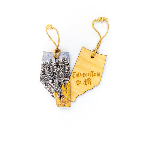 CLEARANCE <br> Alberta Wooden Holiday Ornament <br> Edmonton AB <br> Aspens in Winter