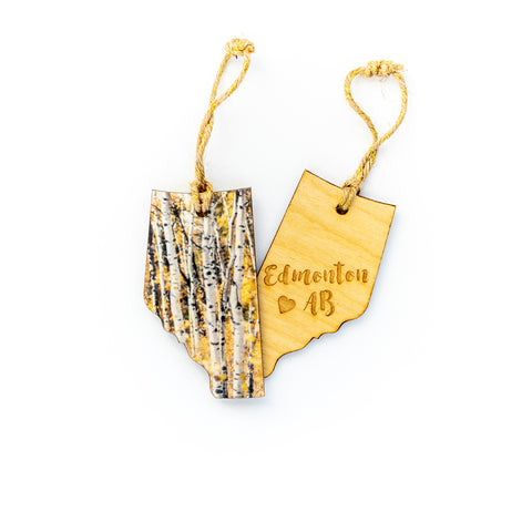 CLEARANCE <br> Alberta Wooden Holiday Ornament <br> Edmonton AB <br> Aspens in Autumn