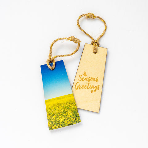 Saskatchewan Wooden Holiday Ornament <br> Seasons Greetings <br> Canola Field in Bloom