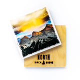"Sunrise & Elk Canmore Canadian Rockies <br>Birch Wood Photo Coaster <br> 4x4"" Matte Finish"