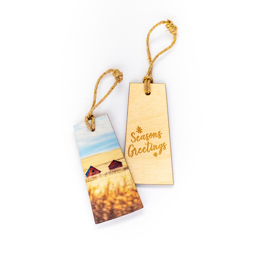 Saskatchewan Wooden Holiday Ornament <br> Seasons Greetings <br>Two Red Granaries