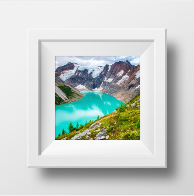"SALE 8x8"" Metallic Paper Print<br>Lake of the Hanging Glacier <br>B.C Canada<br>"
