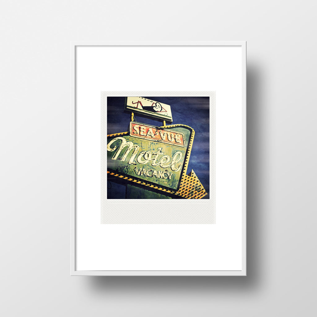 Discontinued <br> Large Metallic Polaroid Magnet <br> Sea-Vue Motel