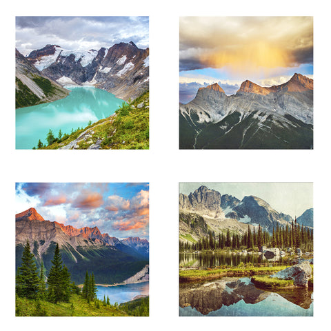 Metallic Mini Magnet Set of 4 <br> Canadian Mountains
