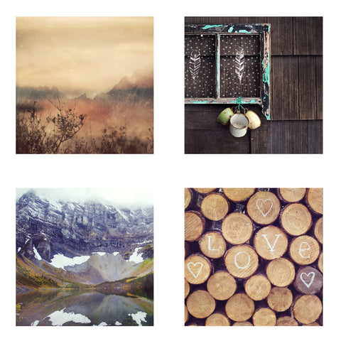 Metallic Mini Magnet Set of 4 <br> Rustic Mountain Images No. 7