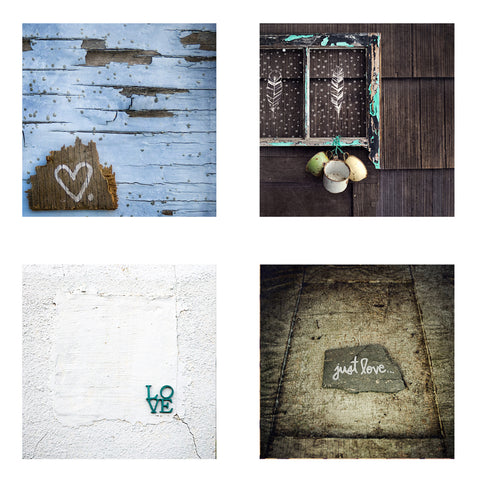Metallic Mini Magnet Set of 4 <br> Rustic Love + Hearts