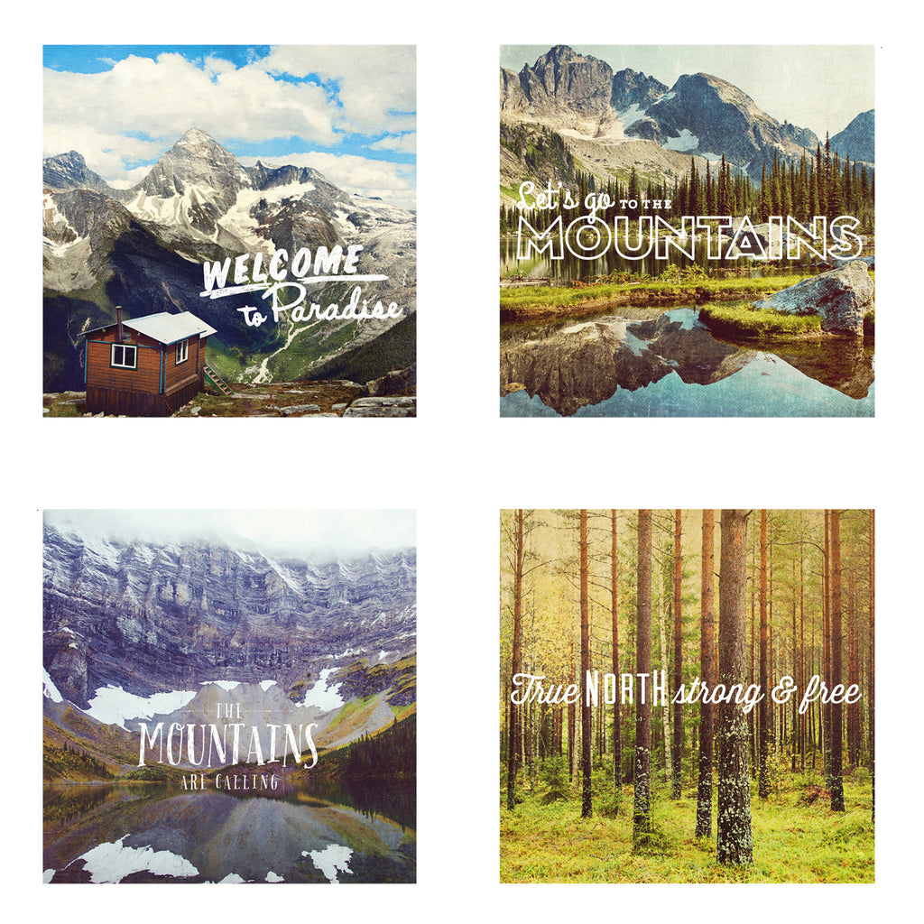 Metallic Mini Magnet Set of 4 <br> Postcard Inspired Mountain Scenes
