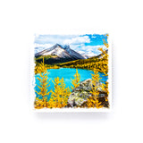 "Skoki Lakes Banff National Park Canadian Rockies <br>Birch Wood Photo Coaster <br> 4x4"" Matte Finish"