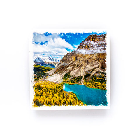 "Autumn in Lake Louise Banff National Park<br>Birch Wood Photo Coaster <br> 4x4"" Matte Finish"