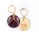 Circle Wooden Holiday Ornament <br> Canadian Rockies <br> Snowshoes