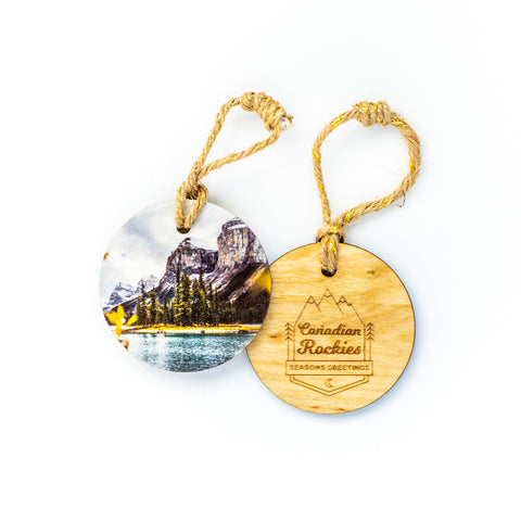 Circle Wooden Holiday Ornament <br> Canadian Rockies <br> Spirit Island Jasper National Park
