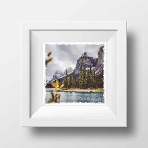 "CLEARANCE 5x5"" Fine Art Print <br>Spirit Island Jasper National Park <br> Metallic Finish"