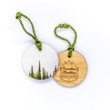 Circle Wooden Holiday Ornament <br> Canadian Rockies <br> Foggy Alpine Fir Trees
