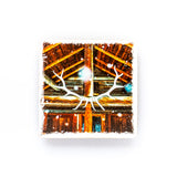 "Log Cabin & Elk Rack Banff National Park<br>Birch Wood Photo Coaster <br> 4x4"" Matte Finish"