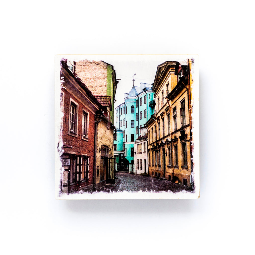 "European Cobblestone Street <br>Birch Wood Photo Coaster <br> 4x4"" Matte Finish"