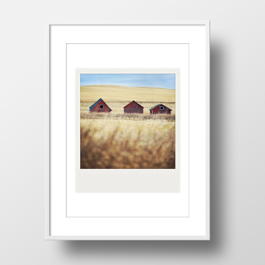SALE<br>Metallic Polaroid Magnet <br> 3 Little Farm Buildings