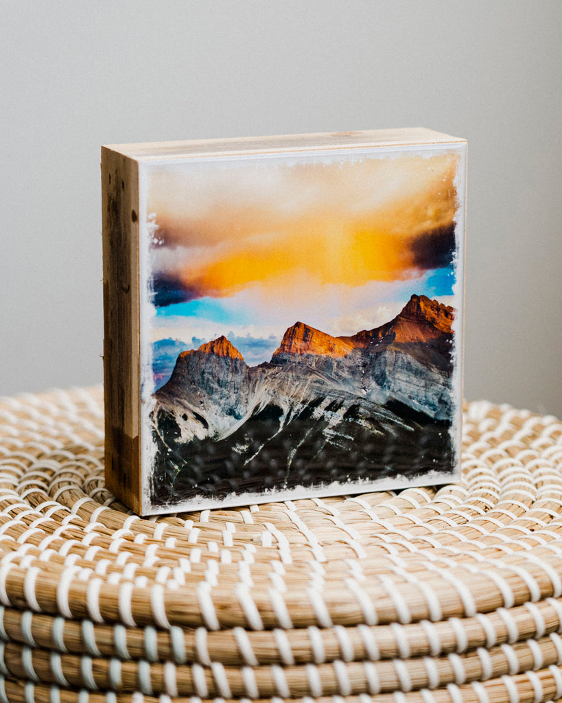"Three Sisters Mountains Sunset <br> 5x5"" Signature Glossy Art Block  <br> Rustic Barn Wood Edges"