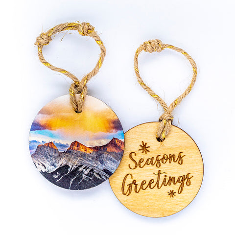 Circle Wooden Holiday Ornament <br> Seasons Greetings <br>Three Sisters Sunrise
