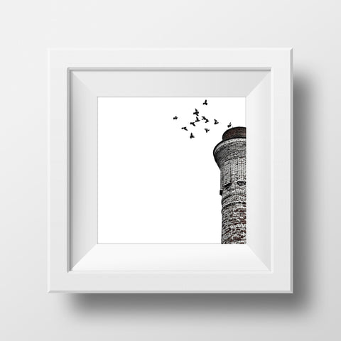 "Discontinued 5x5"" Print <br>Birds at Tower<br> Matte Finish"