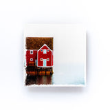 "Red Playhouse Newfoundland<br>Birch Wood Photo Coaster <br> 4x4"" Matte Finish"