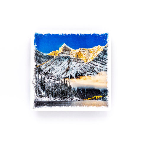 "Canadian Rockies Winter Sunrise<br>Birch Wood Photo Coaster <br> 4x4"" Matte Finish"