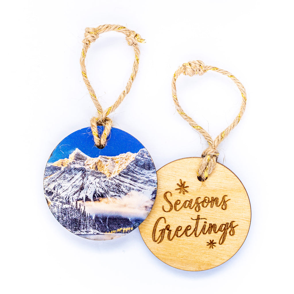 Circle Wooden Holiday Ornament <br> Seasons Greetings <br>Kananaskis Winter Sunrise